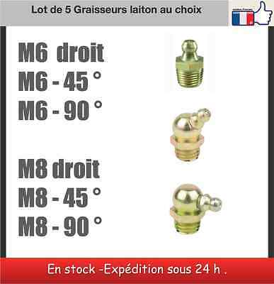 5 graisseurs laiton M6 ou M8 droit 180 ° 45° 90° Nipple set
