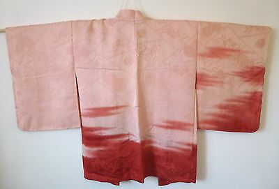 Authentic handmade Japanese pink Haori jacket for Kimono, good condition (I394)