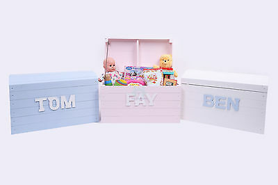 Personalised childrens toy box chest trunk handpainted - 3 Colour Options