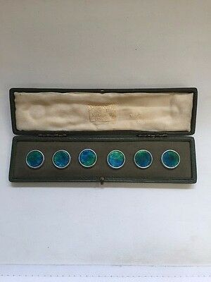 SET OF 6 SILVER & ENAMEL LIBERTY BUTTONS BIRMINGHAM 1903 (United Kingdom, 1898 t