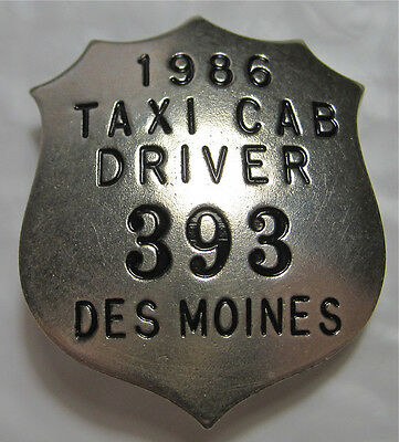1986 Taxi Badge - City of Des Moines, IA #393
