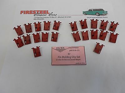 1956 Chevy Chevrolet #268 Bel Air Front FENDER MOLDINGS CLIP Set New
