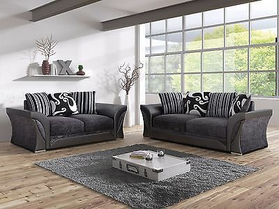 New 3+2 Shannon Farrow Large Sofas Chanille Fabric Greyblack / Brown Beige Sale