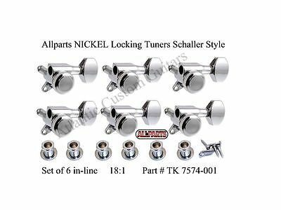NEW Allparts 6 In Line NICKEL LOCKING TUNERS for Fender Strat & Tele 18:1