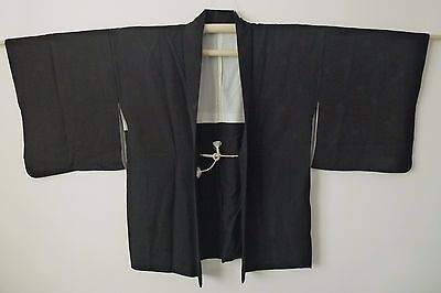 Authentic handmade Japanese black silk Haori jacket for Kimono, with himo (I396)