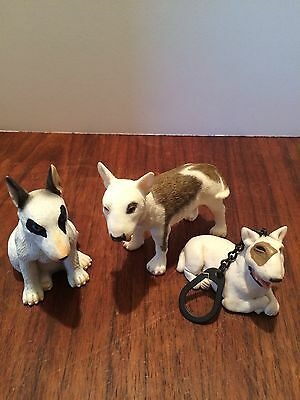 Set Of 3 Resin Miniature Bull Terrier Dogs