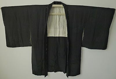 Authentic handmade Japanese black silk Haori jacket for kimono (I397)