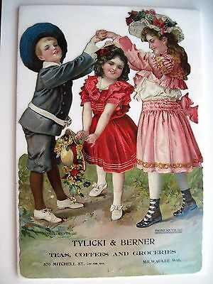 Charming Die Cut Victorian Trade Card w/ Children in 19th Century Clothes *