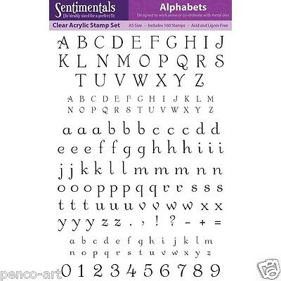 Crafters Companion A5 clear stamps Alphabet letters numbers A-Z & 0-9 160 pc set