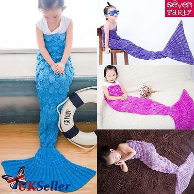 Mermaid Tail Blanket Children Crocheted Cocoon Sofa Beach Quilt Rug Knit Lapghan