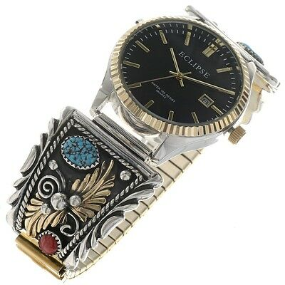 Navajo Handmade Gold Silver Design Turquoise Coral Mens Watch