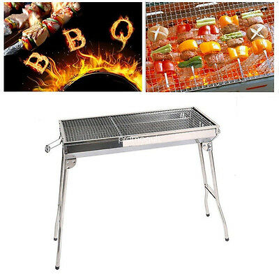 Outdoor Barbecue Pits Stainless Steel Charcoal Grill Portable Foldable BBQ Oven