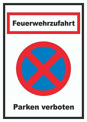 schild feuerwehrzufahrt parken verboten 3 gr en pvc. Black Bedroom Furniture Sets. Home Design Ideas