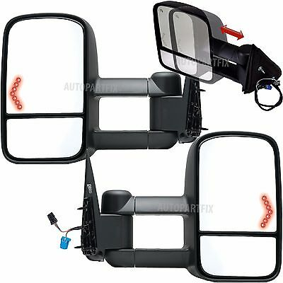 New PAIR Power Right Left Tow Mirror for 03-07 Silverado Sierra Power Heated