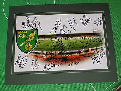 Norwich City FC Mounted Stadium Photograph Signed x 22 2016/17 1st Team Squad