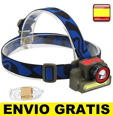 Linterna Cabeza  Frontal Recargable Impermeable De luz LED Q5+COB ZOOM AJUSTABLE