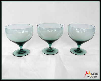 60s Mid Century Morgantown Glass Russell Wright Set 3 Seafoam Blue Water Wine 4""