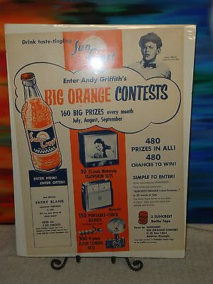 Andy Griffith - Sun Crest - Big Orange Contest Promotional Poster/Print