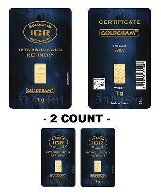 Lot of 2 - IGR Mint 1 Gram 999.9 Gold Bar Sealed with Assay Certificate 24 Karat