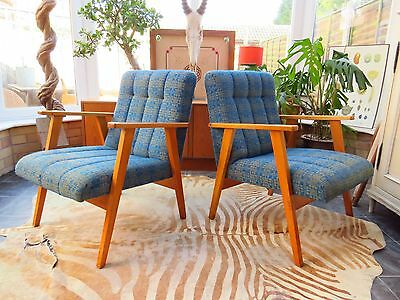 A Pair Of Blue  Vintage East German / Danish Style Lounge Armchairs C1970 Oc16-3