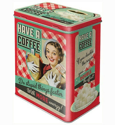 Large Retro Embossed Storage Tin Metal Box HAVE A COFFEE 1950's Do Stupid Things