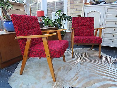A Pair Of  Vintage East German / Danish Style Lounge Armchairs C1970 Oc16-4
