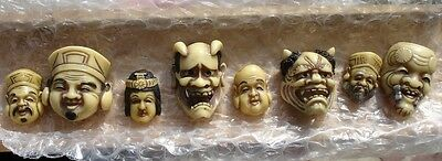 "SCARCE!"" JAPANESE NOH MASK & GODS""orig box~BONE?~SIGNED~VINTAGE ANTIQUE BUTTONS"