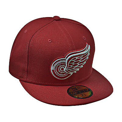 NEW ERA DETROIT Red Wings NHL 59Fifty Men s Fitted Hat Cap Red White ... 9762bd51b339
