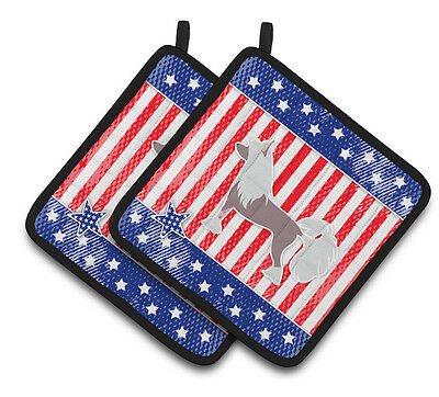 USA Patriotic Chinese Crested Pair of Pot Holders