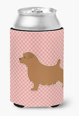 Norfolk Terrier Checkerboard Pink Can or Bottle Hugger