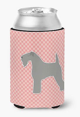Kerry Blue Terrier Checkerboard Pink Can or Bottle Hugger