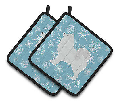 Carolines Treasures  BB3559PTHD Winter Snowflake Samoyed Pair of Pot Holders