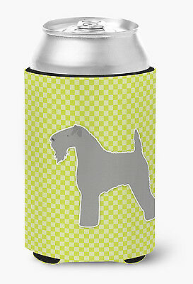 Kerry Blue Terrier Checkerboard Green Can or Bottle Hugger