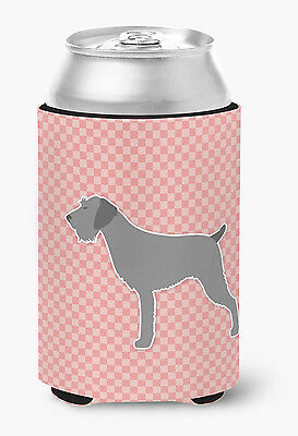 German Wirehaired Pointer Checkerboard Pink Can or Bottle Hugger