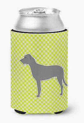 Irish Wolfhound Checkerboard Green Can or Bottle Hugger