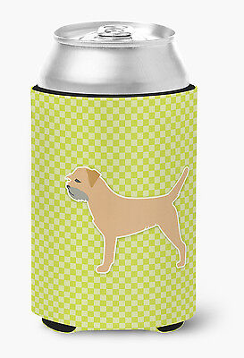 Border Terrier Checkerboard Green Can or Bottle Hugger