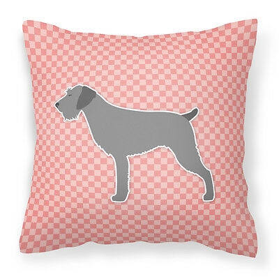 German Wirehaired Pointer Checkerboard Pink Fabric Decorative Pillow