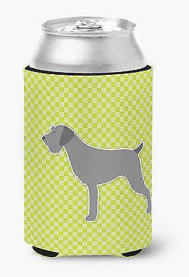German Wirehaired Pointer Checkerboard Green Can or Bottle Hugger