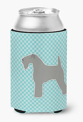 Kerry Blue Terrier  Checkerboard Blue Can or Bottle Hugger