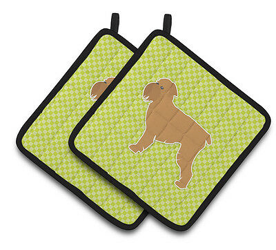 Brussels Griffon Checkerboard Green Pair of Pot Holders
