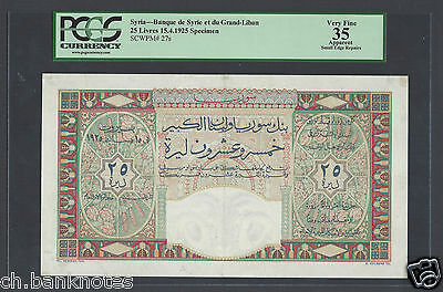Syria Syrie 25 Lira 15-4-1925 Specimen Proof Without Signature Very Fine