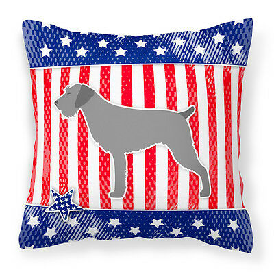 USA Patriotic German Wirehaired Pointer Fabric Decorative Pillow