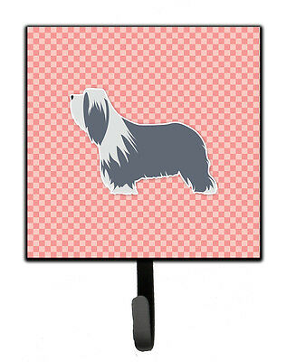 Bearded Collie Checkerboard Pink Leash or Key Holder