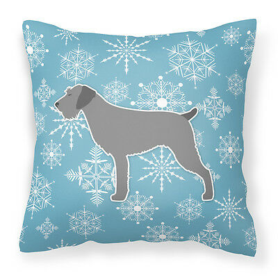 Winter Snowflake German Wirehaired Pointer Fabric Decorative Pillow