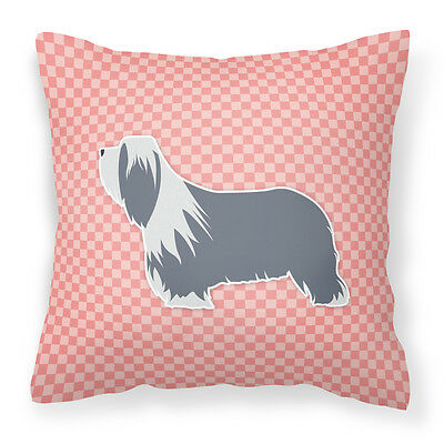 Bearded Collie Checkerboard Pink Fabric Decorative Pillow