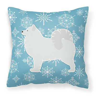 Winter Snowflake Samoyed Fabric Decorative Pillow