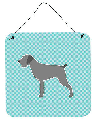 German Wirehaired Pointer Checkerboard Blue Wall or Door Hanging Prints