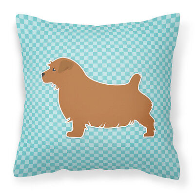 Norfolk Terrier  Checkerboard Blue Fabric Decorative Pillow