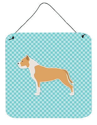 Staffordshire Bull Terrier Checkerboard Blue Wall or Door Hanging Prints