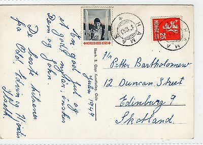 Norway: 1949 Picture Postcard With A Tied Christmas Seal (C5933).
